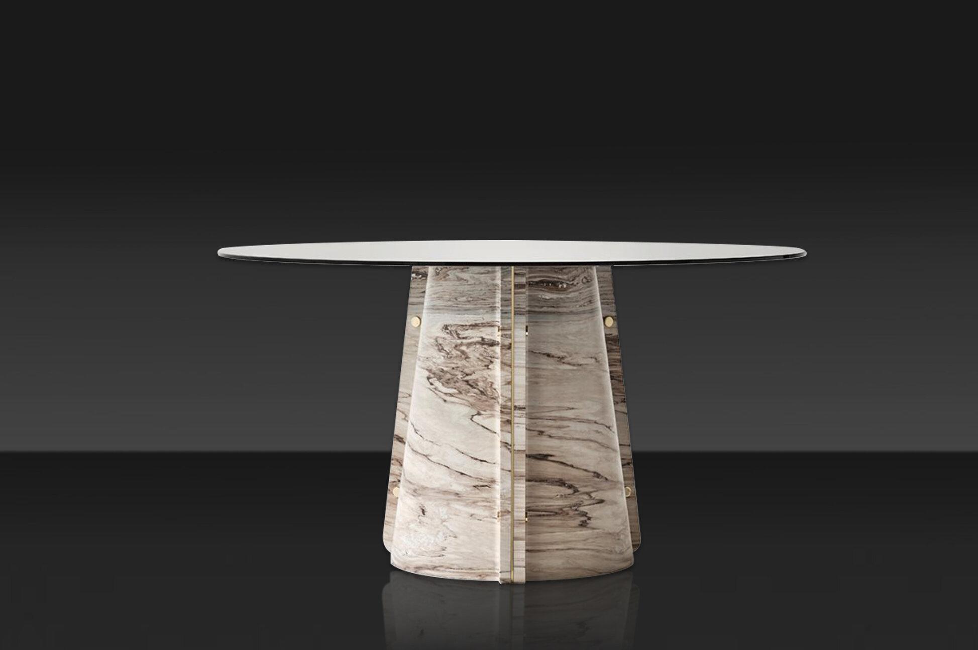 Elitra 160 Table. Lithos design, 2020. Marmo Palissandro Brown e dettagli in ottone.