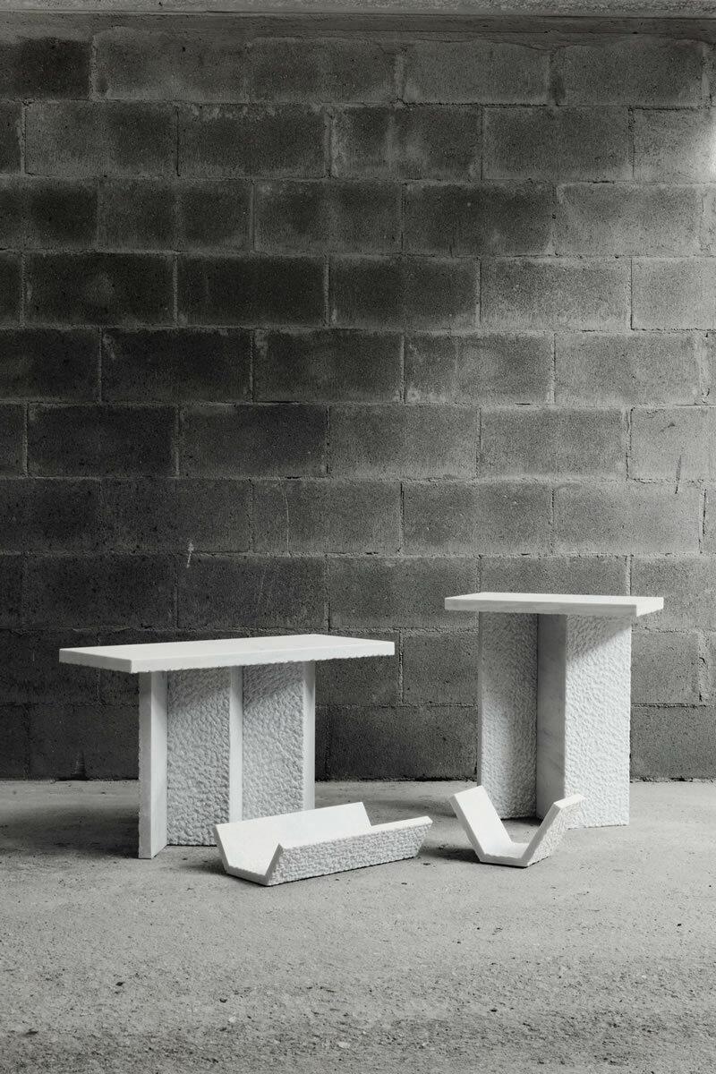 In Primis Table. Zaven per Pietre Trovanti.Marmo Palissandro Classico.